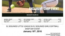 2016-El-Segundo-Little-League-&-El-Segundo-Girls-Softball-Shop-Day-Event-Flyer